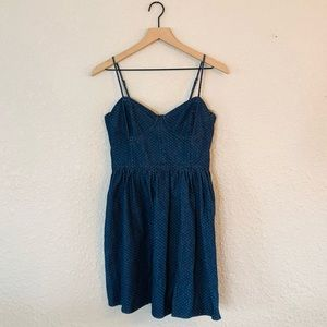 Free People Swiss Dot Bustier Denim Mini Dress